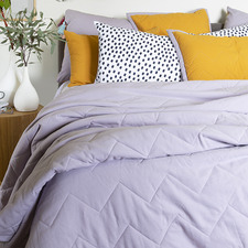 Gold & Lilac Cotton Chambray Quilted Coverlet
