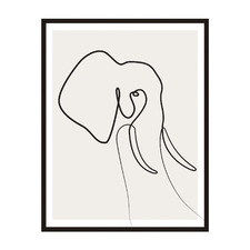 Line Elephant Framed Printed Wall Art