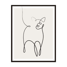 Line Cat Framed Printed Wall Art
