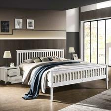 White Emiko Pine Wood Bed Frame