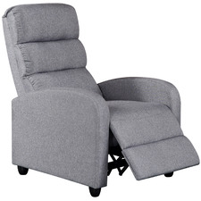 Grey Millio Linen Fabric Recliner Armchair