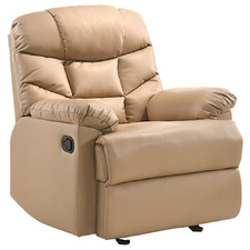 Beige Fabby Faux Leather Recliner Armchair