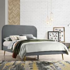 Light Grey Lulu Velvet Bed