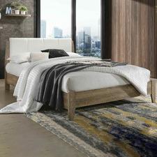 White & Natural Scandinavian Inspired Bed