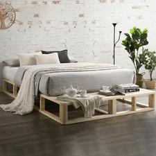 Natural Coastal Pallet Pine Wood Bed Base