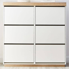 White & Natural Arden 6 Drawer Shoe Cabinet