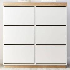 White & Natural Tia 6 Drawer Shoe Cabinet