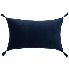 Tasselled Rectangular Cotton Velvet Cushion