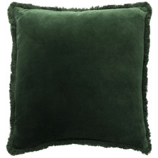 Forest Fringed Square Velvet Cushion