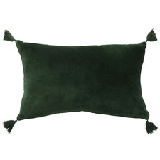 Forest Fringed Rectangular Velvet Cushion