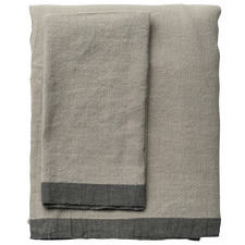 Natural & Graphite Montalto Linen-Blend Tablecloth