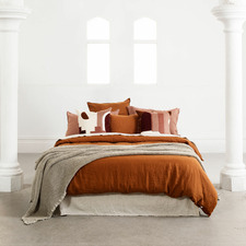 Tobacco Mondo French Linen Quilt Cover Set