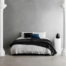 Black & White Stripe Loft Cotton-Blend Quilt Cover Set