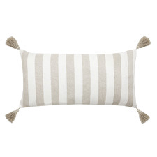 White Ravello Linen Lumbar Cushion