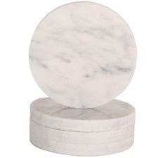 Round Carrara Marble Coasters (Set of 4)