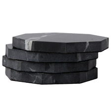 Black Henkle Octagon Nero Marquina Marble Coasters (Set of 4)