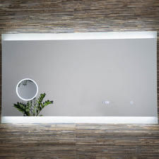 Leo Rectangular LED Mirror with Magnifier & Clock