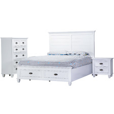 White Barclay Rubber Wood Queen Bed Suite Set