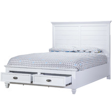 White Barclay Rubber Wood Queen Bed Frame