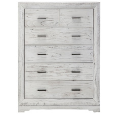 White Seaford Wooden 6 Drawer Tallboy