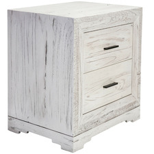 White Seaford Wooden 2 Drawer Bedside Table