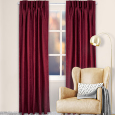 Burgundy Reno Pinch Pleat Blockout Curtains (Set of 2)