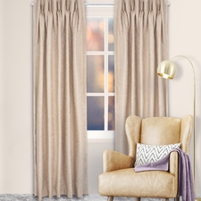 Mushroom Reno Pinch Pleat Blockout Curtains (Set of 2)