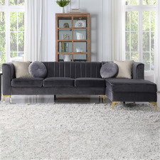 Seisyll 4 Seater Velvet Sofa with Right Chaise