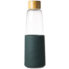 Deep Sea Green 850ml Glass Water Bottle