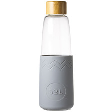 Cool Grey 850ml Glass Water Bottle