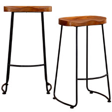 75cm Eda Vintage-Style Wooden Tractor Barstools (Set of 2)