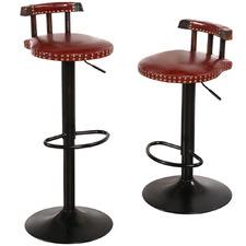 Tehya Faux Leather Adjustable Barstools (Set of 2)
