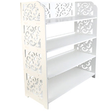 White Alex 4 Tier Extra Wide Carved Shoe Rack