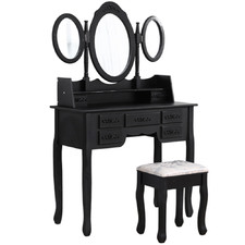 2 Piece Black Farhaan Dressing Table & Stool Set