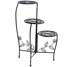 Black Liyana 3 Tier Wrought Iron Plant Stand
