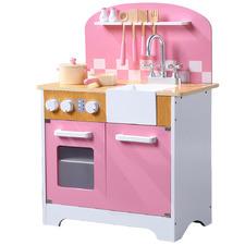 Pink Kids' Wooden Kitchen Play Set