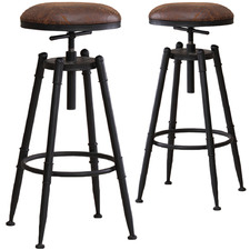 Toyah Industrial Faux Leather Adjustable Barstools (Set of 2)