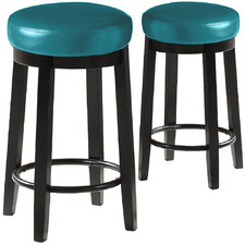 65cm Emillie Faux Leather Swivel Barstools (Set of 2)
