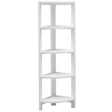 White  Tim 5 Tier Corner Bookcase