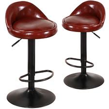 Oscar Faux Leather Adjustable Barstools (Set of 2)