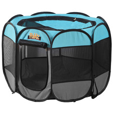 Blue Pawz Soft Pet Playpen with Collapsible Food Bowl