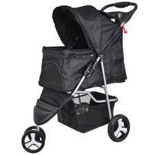 Black Pawz 3 Wheel Compact Pet Stroller with Drink Holder