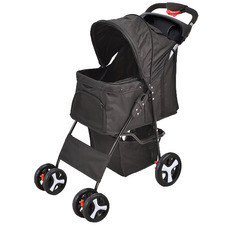 Black Pawz 4 Wheel Compact Pet Stroller with Drink Holder