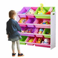 Kids Levede 12 Bin Wooden Toy Organiser