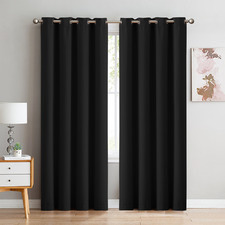Black Triple Layer Eyelet Blockout Curtains (Set of 2)