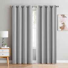 Grey Triple Layer Eyelet Blockout Curtains (Set of 2)