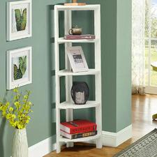 White  Tim 5 Tier Corner Bookcase