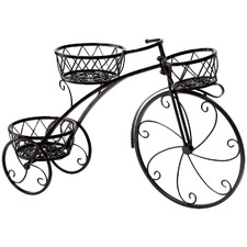 Black Bicycle 3 Tier Steel Pot Plant Stand