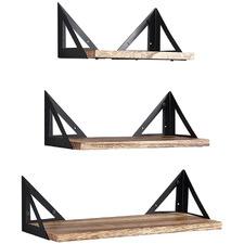 3 Piece Arnia Rustic Paulownia Wood Floating Shelves