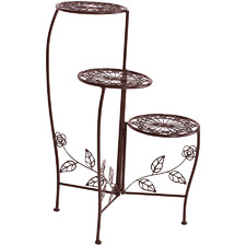 Brown 3 Tier Steel Pot Plant Stand